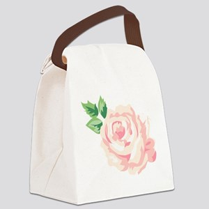 Single Vintage Rose Canvas Lunch Bag