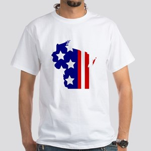Wisconsin Stars and Stripes White T-Shirt