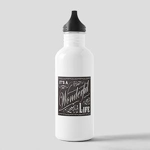 vintage holiday chalkboard art Water Bottle