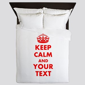 Personalized Keep Calm and carry on Queen Duvet