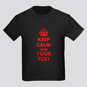 Personalized Keep Calm and carry Kids Dark T-Shirt
