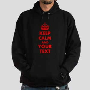 Personalized Keep Calm and carry on Hoodie (dark)