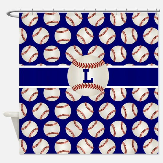 Baseball Blue Monogram Shower Curtain