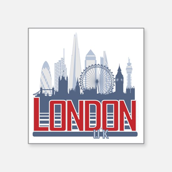 "Cute London city Square Sticker 3"" x 3"""
