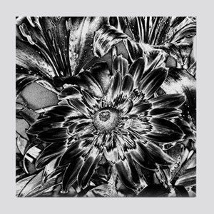Black and White Floral Tile Coaster