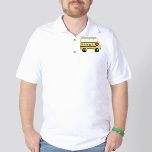 cute yellow school bus Golf Shirt