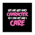 Like I Care White-Pink Tile Coaster