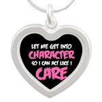 Like I Care White-Pink Silver Heart Necklace