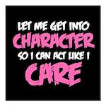 Like I Care White-Pink Square Car Magnet 3
