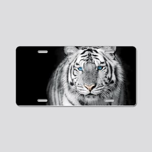 White Tiger Aluminum License Plate