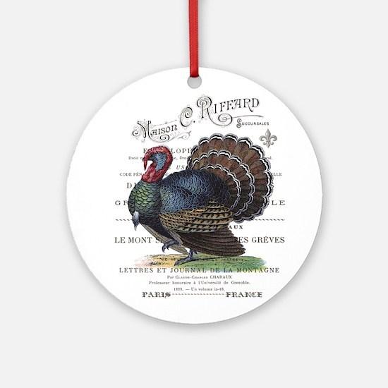 modern vintage fall turkey Ornament (Round)