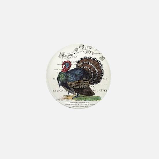 modern vintage fall turkey Mini Button