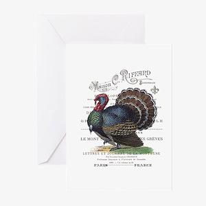 modern vintage fall turkey Greeting Cards