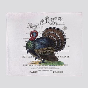modern vintage fall turkey Throw Blanket