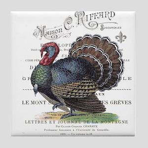 modern vintage fall turkey Tile Coaster