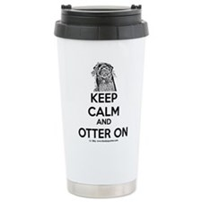 keep calm otter on - b Travel Mug