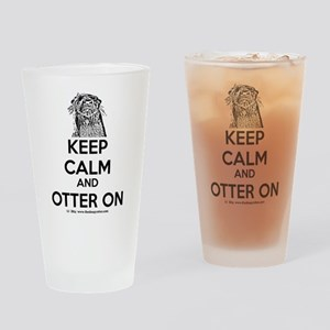 keep calm otter on - b Drinking Glass