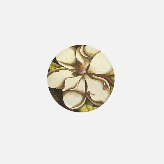 modern vintage fall magnolia flower Mini Button