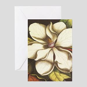 modern vintage fall magnolia flower Greeting Cards