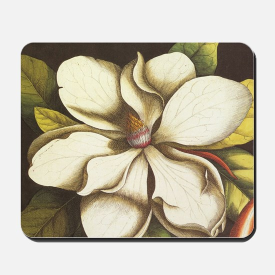 modern vintage fall magnolia flower Mousepad