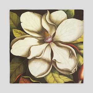 modern vintage fall magnolia flower Queen Duvet