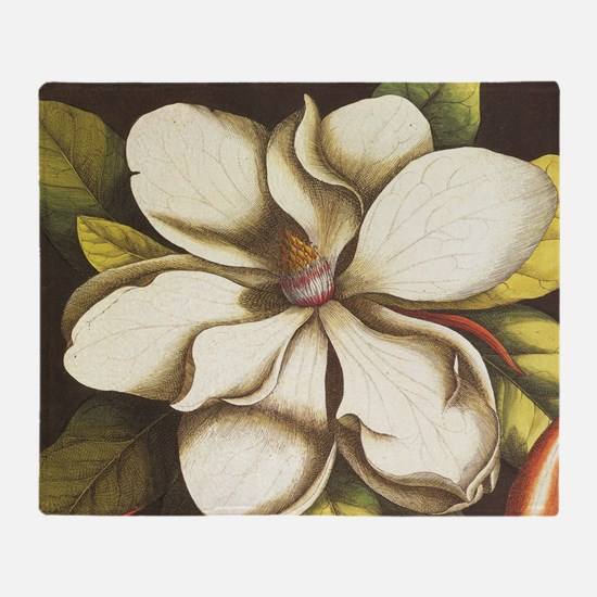 modern vintage fall magnolia flower Throw Blanket