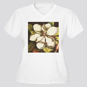 modern vintage fall magnolia flower Plus Size T-Sh