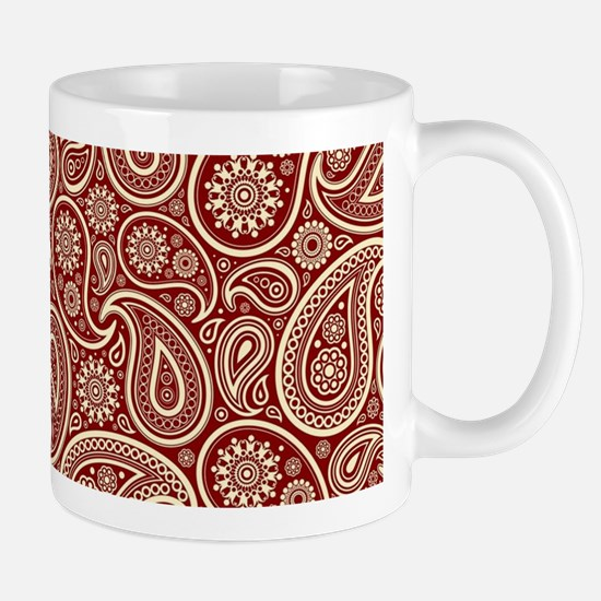 Crimson red And Cream Vintage Paisley Pattern Mugs