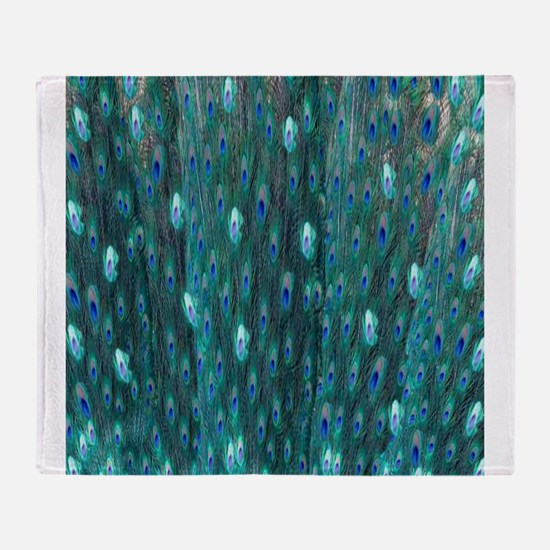 Shining Peacock Feathers Throw Blanket