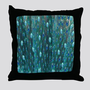 Shining Peacock Feathers Throw Pillow