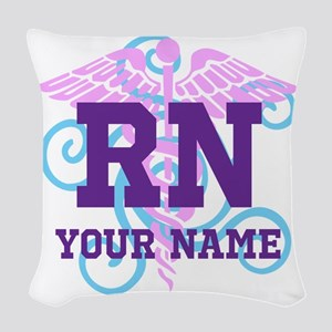 Rn Swirl With Personalized Name Woven Throw Pillow