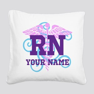 RN swirl with personalized name Square Canvas Pill