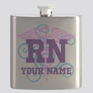 RN swirl with personalized name Flask