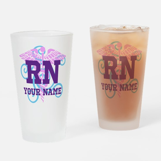 RN swirl with personalized name Drinking Glass