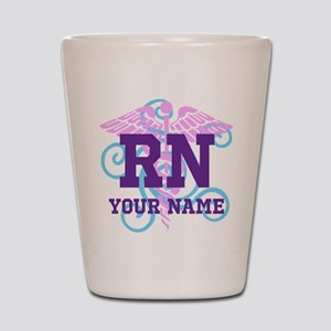 RN swirl with personalized name Shot Glass