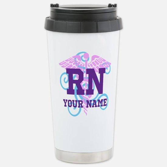 RN swirl with personalized name Travel Mug