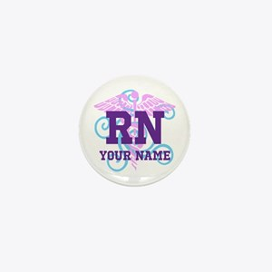 Rn Swirl With Personalized Name Mini Button