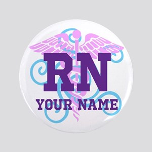 """Rn Swirl With Personalized Name 3.5"""" Button"""