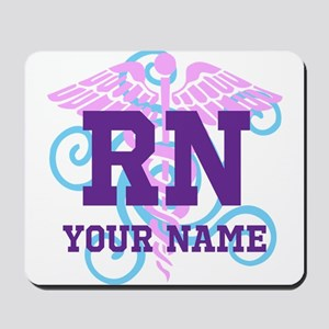 RN swirl with personalized name Mousepad