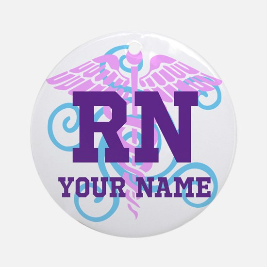 Rn Swirl With Personalized Name Ornament (round)