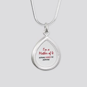 Nothing Scares Mom 4 Silver Teardrop Necklace