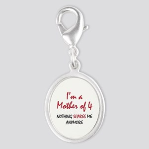 Nothing Scares Mom 4 Silver Oval Charm