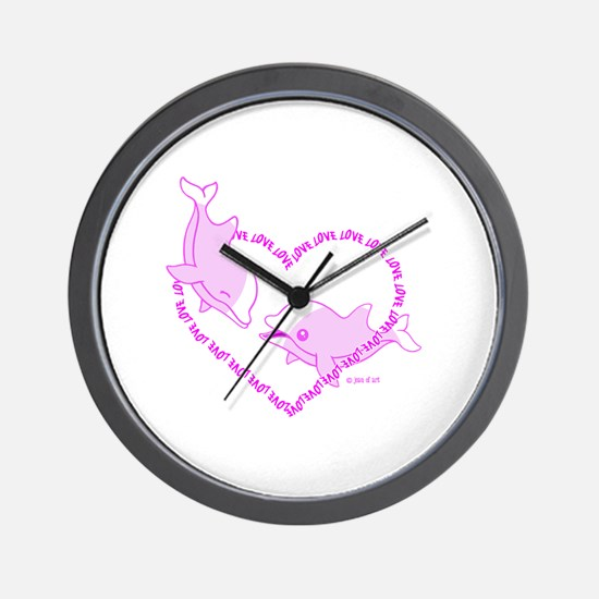 Love Dolphins Wall Clock