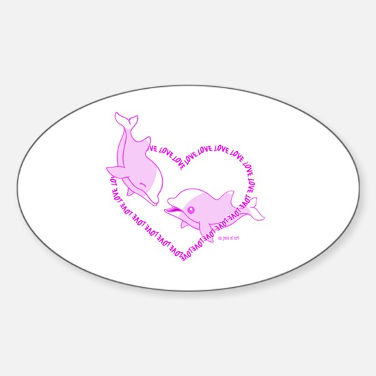 Love Dolphins Sticker (Oval)