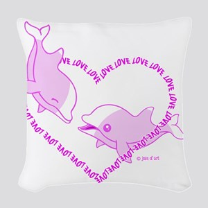 Love Dolphins Woven Throw Pillow