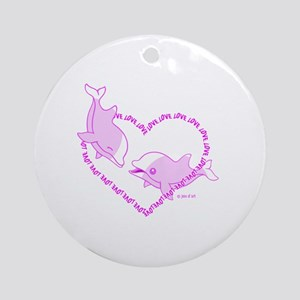 Love Dolphins Round Ornament