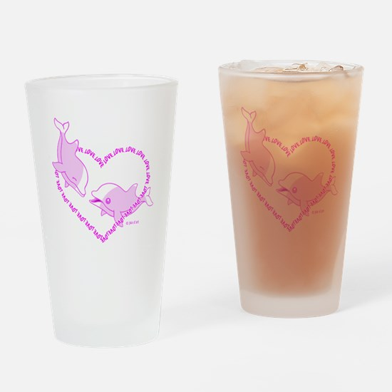 I Love Dolphins (Pink) Drinking Glass