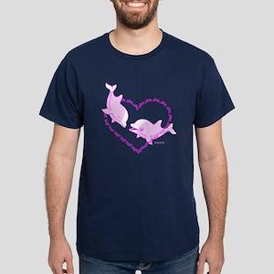 I Love Dolphins (Pink) Dark T-Shirt