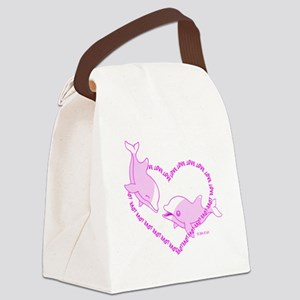 I Love Dolphins (Pink) Canvas Lunch Bag