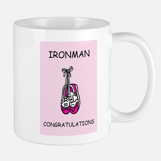 Ironman congratulations for female. Mugs